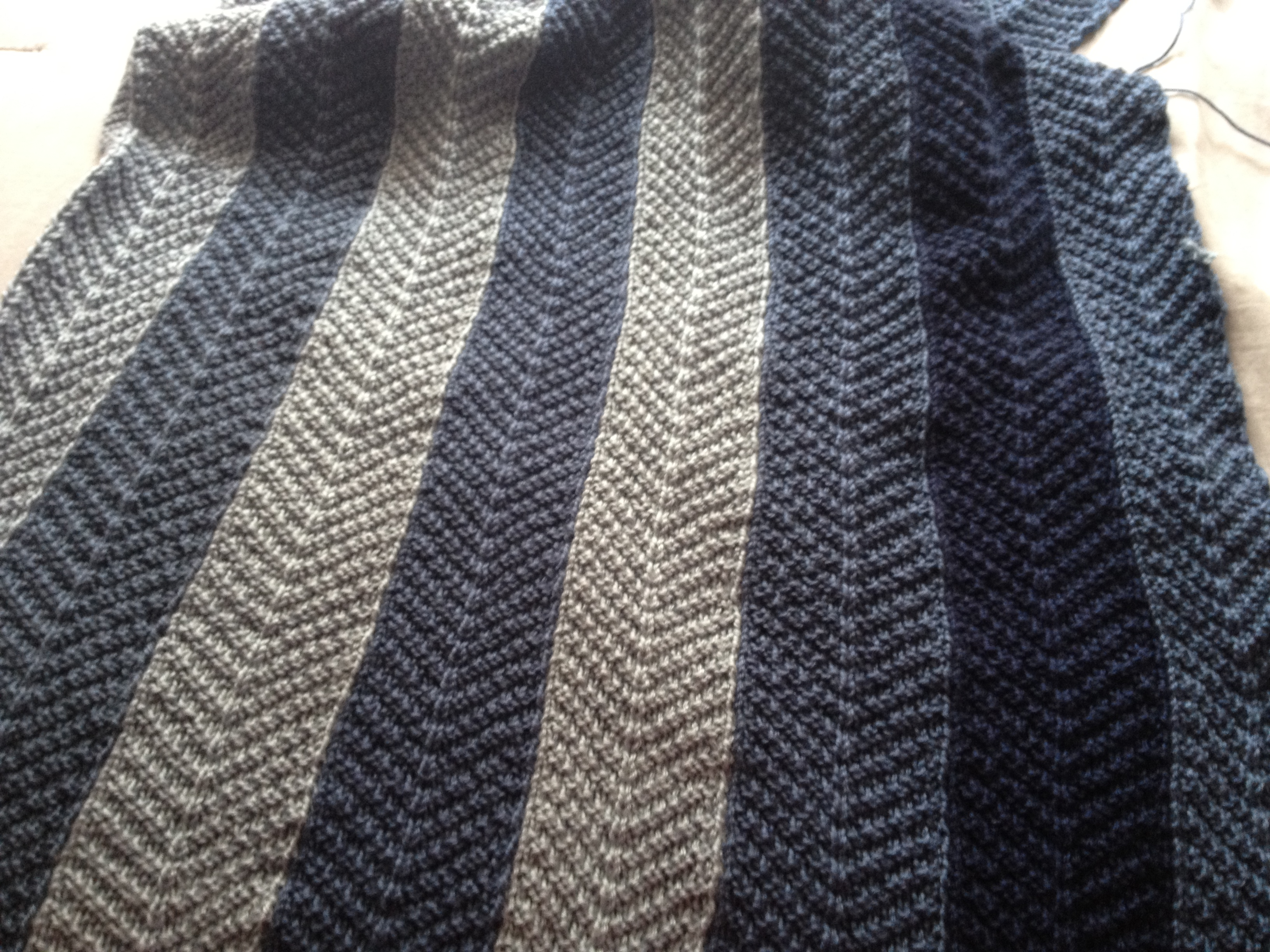 Finishing my Knitted Chevron blanket | Knits, Bits & Pics